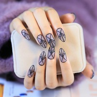 Fashion Clear Matte Fake Nails Pointed Lady Acrylic False Nail Kit 24pcs with Double Side Adhesive sticker Z265