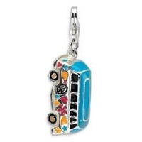3-D Enameled Hippie Bus Charm in Sterling Silver