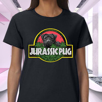 Jurassic Pug Tie Dye Confirmed Black Women T-Shirt