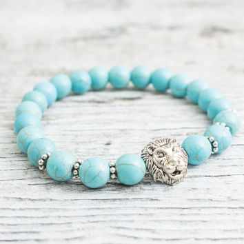Turquoise beaded silver Lion head stretchy bracelet, made to order yoga bracelet, mens bracelet, womens bracelet