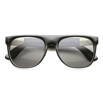 Retro Super Flat Top Metal Accent Faux Leather Sunglasses 9613