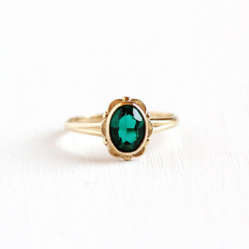 Vintage 10k Yellow Gold Simulated Emerald Ring - Size 6 3/4 Oval Green Faceted Glass Fine Floral Flower Jewelry PSCO Plainville Stock Co