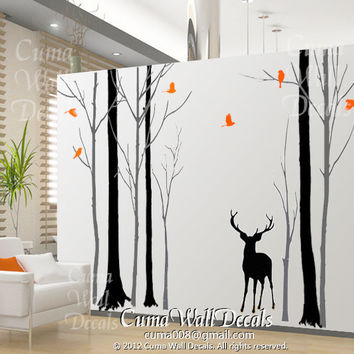 Nursery wall decal deer birds wall sticke animal wall decals children office wall mural vinyl - deer family in Forest Z170a cuma