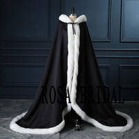 Black Wedding Bridal Cloak Ivory Faux fur edge , Bridal cape Wedding, Winter Bridal Cloak Custom Color