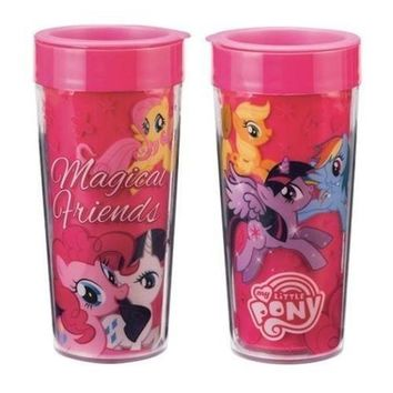 My Little Pony Magical Friends Collage 16 oz Double Wall Plastic Travel Mug