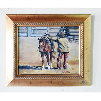 Cowboy & Horse Painting By B. Woosley