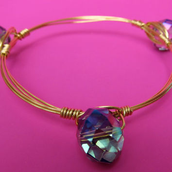 Ships Free! Iridescent Round Purple/Blue/Green Tinted Beaded Wire Wrapped Bangle Bracelet - Popular gift idea for bridesmaids, birthdays