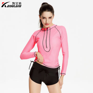 High Quality New 2017 Hot Long Sleeve Sexy Swimwear Women Two Pieces Swimsuit Warm Bodysuit Swimsuit for Surfing 1758