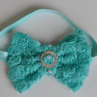 Aqua baby headband - baby headbands - baby girl headband - infant headband - baby bow headband - flower headband - newborn headband.