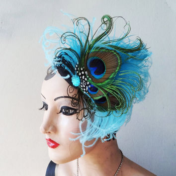 Turquoise Blue Cocktail Hat - Peacock Feather Fascinator - Green Hair Accessory - 1940s Retro Headpiece - Formal Wear - High Fashion