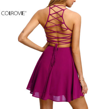 COLROVIE Hot Pink Cross Lace Up Backless Spaghetti Strap Short Skater
