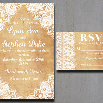 Burlap And Lace Wedding Invitations - Vintage Lace Wedding Invitations - Rustic Lace Wedding Invitations - Burlap Wedding Invitations - 5x7
