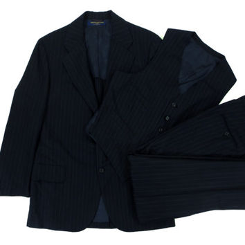 Vintage Three Piece Suit from Brooks Brothers - Dark Navy Blue Pinstripe Suit Menswear Brooks Bros - Men's Size 42 Large L