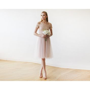 Off-the-Shoulders Blush Pink Tulle & Lace Midi Short Sleeves Dress 1153