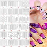 Adomaner 10 Packs/Lot French Stencil Manicure DIY Nail Art Form Fringe Tips Guides Stickers Stencil Strip Styling Beauty Tools