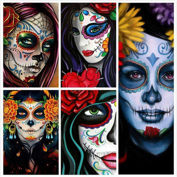 Diamond Painting Full Square/Round Drill  Skull Girl Mexican Art kit