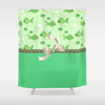 Tropical Green Fish Shower Curtain by DMiller