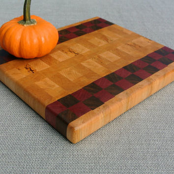 End Grain Cutting Board, Butcher Block, Wood Cutting Board-- Maple with Walnut and Purpleheart Checkered Stripes