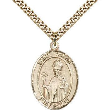 "Saint Austin Medal For Men - Gold Filled Necklace On 24"" Chain - 30 Day Money... 617759293739"