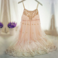 Lace Floral Embroidered  High Waist Strap Dress