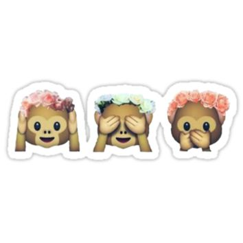 Monkey See No Evil Flower Crown Emoji