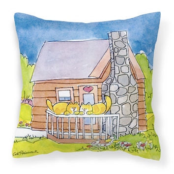 Cat Love at the Log Cabin  Decorative   Canvas Fabric Pillow