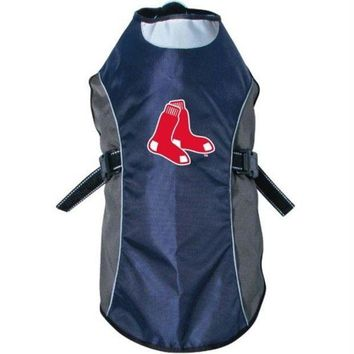 PEAPYW9 Boston Red Sox Water Resistant Reflective Pet Jacket