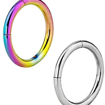 "Set of 2 Seamless Cartilage Hoop Earrings: 16g 5/16"" Surgical Steel & Titanium IP Rainbow Hoops"