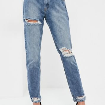 Missguided - Blue Riot Cut Out Front Waistband Jeans