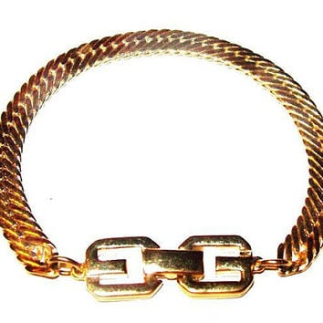 "Givenchy Gold Link Bracelet Signed Made In Paris Double G's Haute Couture 8 1/4"" Vintage"
