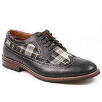 Men's MFA-19312D Men's Plaid Perforated Lace Up Oxford Dress Shoes