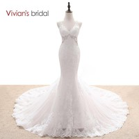Bridal Multi Layers Mermaid Wedding Dress Beaded Sequin Lace V Neck Sleeveless Backless Wedding Gown