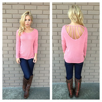 Pink Bridge Back Sweater Top