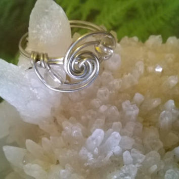 natural Clear Quartz ring artisan wire wrapped stone bead ring raw gemstone handmade crystal jewelry silver or gold best friend gift idea