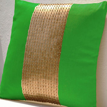 Throw Pillows - Neon green gold color block in silk sequin bead detail cushion - sequin bead pillow - 18X18 Neon green pillow - gift pillow