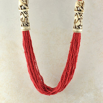 Multi Strand Red Beads Engraved Elephants Necklace