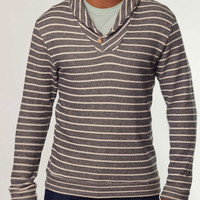 Shawlneck Pullover - Black White Stripe : Marine Layer