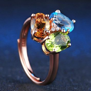 Gold Plated Silver Cocktail Ring with Citrine, Green Peridot and Blue Topaz