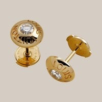 Clous ear studs in yellow gold with diamonds - Louis Vuitton  - LOUISVUITTON.COM