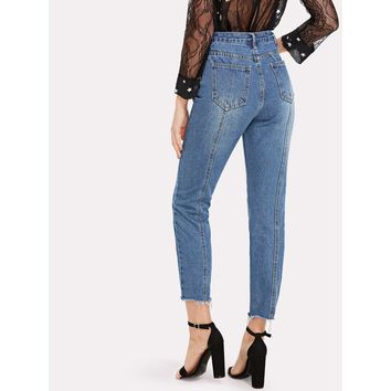 Damn Gina High Waisted Jeans – Blue