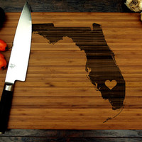 Personalized Wedding Gift, Custom Engraved Wood Cutting Board, Florida State Map, Heart, Anniversary Gift, Bridal Shower, Housewarming Gift
