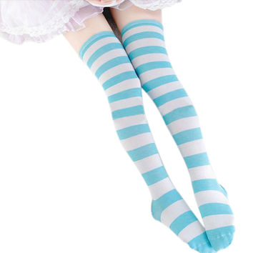 2017 Fashion Girls Ladies Women Sexy Thigh High Over The Knee Socks Casual Long Striped Stockings High Quality 12 Colors