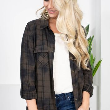 Dear John Olive Frayed Plaid Top