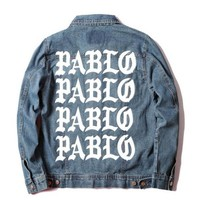 Men's Jacket Kanye West Pablo Streetwear Bomber Jacket Jeans Men Coat Feel Like Pablo Hip Hop Paul