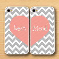 Heart,white Chevron & Bestfriends iPhone 4 Case, iPhone 4s Case, iPhone 4 Hard Plastic Case, Personalized iPhone Case--water proof