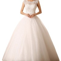 DAPENE® Women's Elegant Bridal One Shouder Chapel Train Wedding Dress