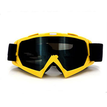 Adult Colourful double Lens Snow Ski Snowboard Goggles Motocross Anti-Fog Fashion Eye Protection Yellow Tea