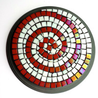 Mosaic Art Red and White Swirl Hypnotizing Trivet Hot Plate. Great kitchen housewarming gift.