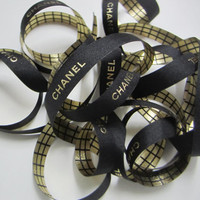 "Authentic CHANEL Black Ribbon with Gold Logo Letters 7/16"" - 1 YARD / Gold and Black Checker Box Ribbon DIY Headband Hairbow / Gift Wrapping"