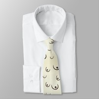 Owww boobies! Kinky black and beige pattern Neck Tie